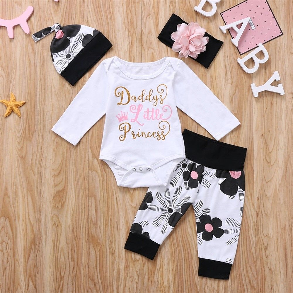 Pudcoco Girl Set 0-24M US Newborn Toddler Baby Girl Clothes Bodysuit+Headband Sunsuit Outfit Set