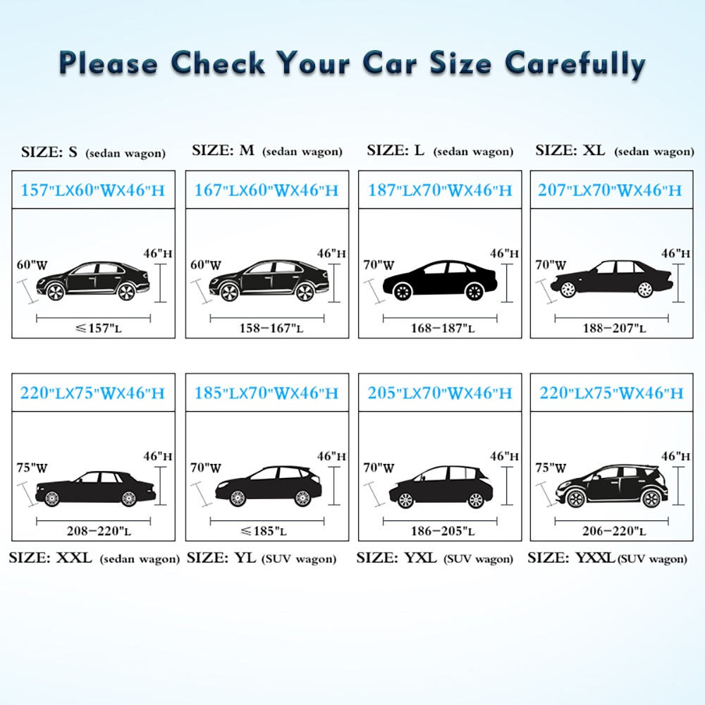 9 Size waterproof car covers(China)