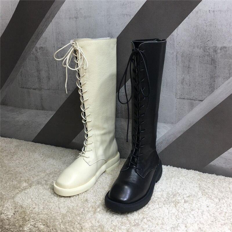 leather Orteils plush Genou Bouche Chaussures haute Bottes Chevalier Botas Canard Appartements Punk En Mujer Zapatos Leather Inside Cuir Zip Femme Ronde De Inside Inside yv0wm8NnOP