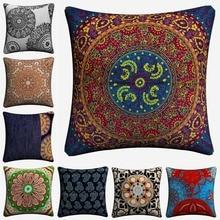 India Round Mandala Pattern Decorative Pillow Covers For Sofa Home Decor Linen Cushion Case 45x45cm Throw Pillow Case Almofada cloud and balls pattern decorative throw pillow case