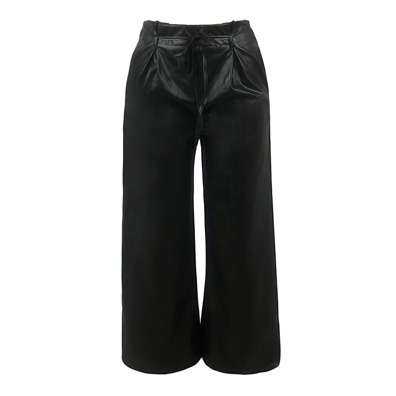 NEW Women OL-Style PU Leather   Pants   Solid Color High Waist Straight   Wide   Loose   Legs   Bandage Zipper Party Trousers   Wide     Leg     Pants
