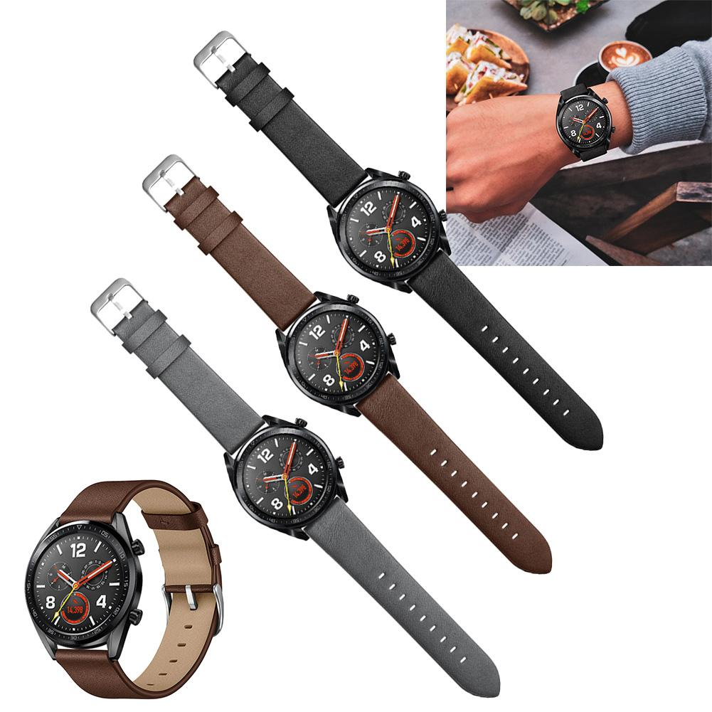 Image 2 - 22mm Fashion Replacement Needle Pattern Leather Strap Wristband For Watch GT / Honor Watch Magic Black Brown Gray New-in Smart Accessories from Consumer Electronics