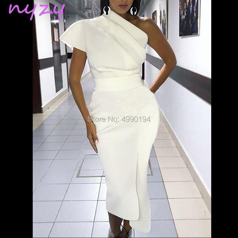 NYZY C65 One Shoulder Satin Vestido   Cocktail     Dress   Elegant Tea Length White Party   Dress   robe de soiree courte