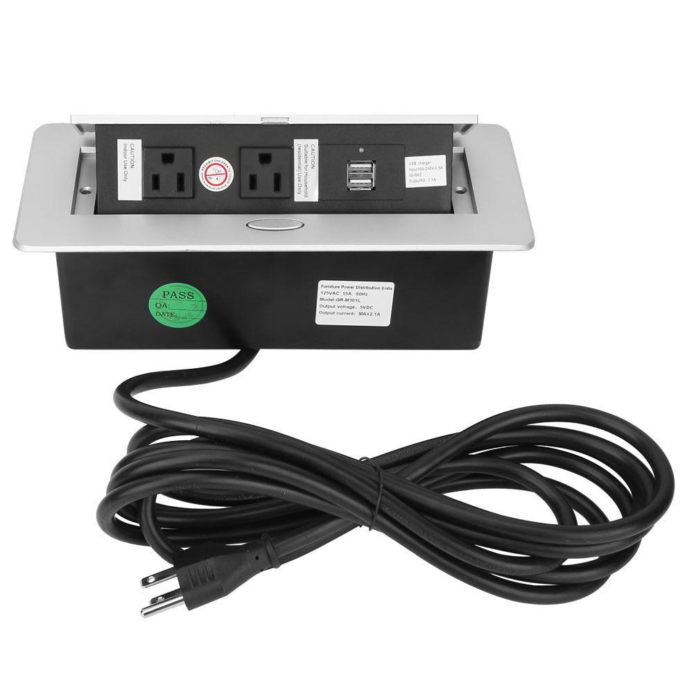 100-240 V plaque en alliage de Zinc prise murale Table US prise de courant avec double prise de Port de Charge USB nouveau
