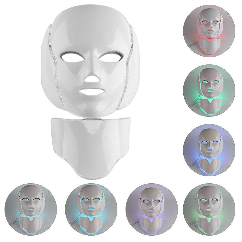 Visage cou Instrument de beauté LED masque Facial galvanique Spa Machine de soins de la peau Instrument de beauté rajeunissement blanchissant raffermissant l'acné