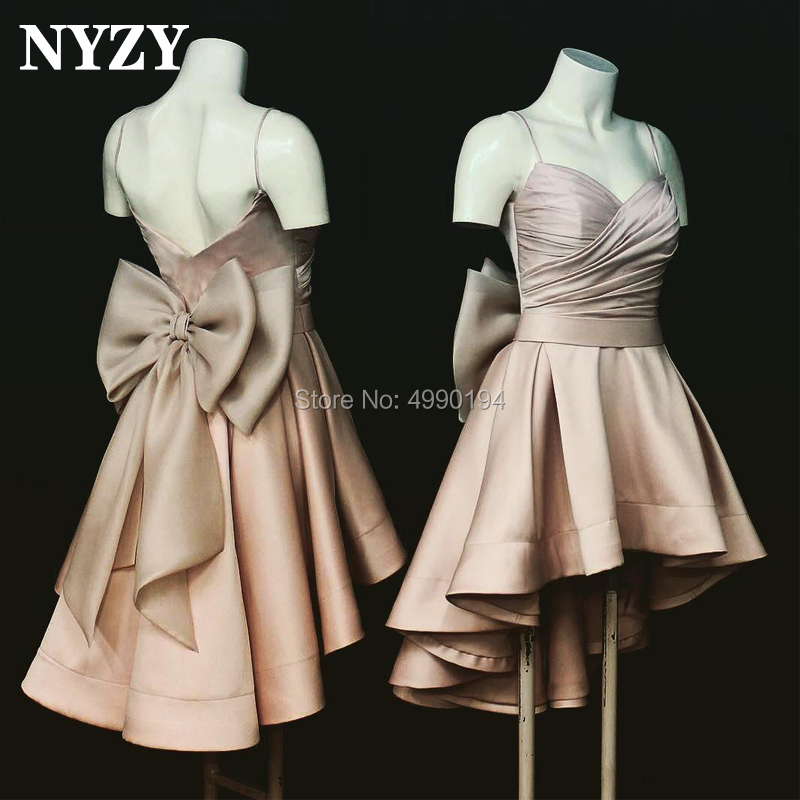 NYZY C111 Champagne Robe   Cocktail     Dress   Party High Low Big Bow Short Front Long Back Prom   Dress   vestido de madrinha 2019