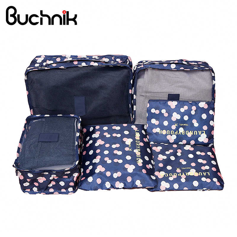 69bf92846848 6 шт. набор дорожных сумок Портативный Упаковка Cube для женщин мужчин  одежда чемодан сортировки чехол