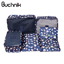 6Pcs Travel Bags Set Portable Packing Cube Women's Men's Clothes Luggage Sorting