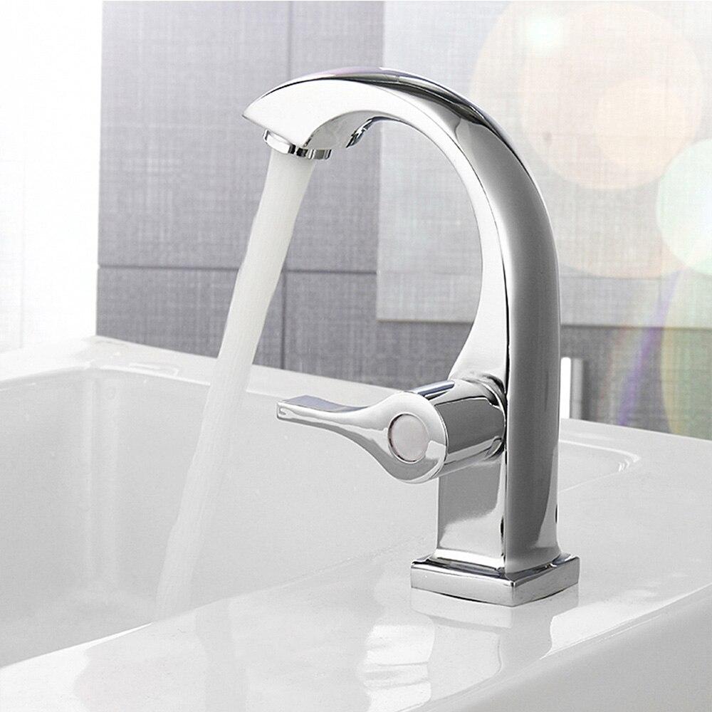 Chrome ванная комната бассейна Cooper коснитесь одной домашней ручкой Носик раковина комплект смеситель кран