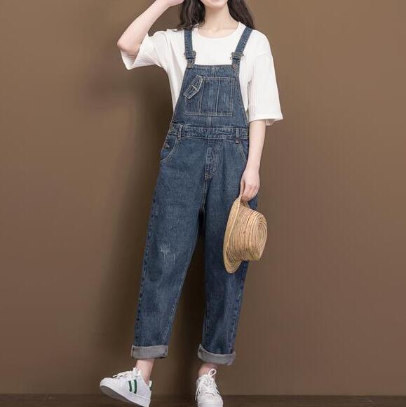 b44b0d451e77  1127 Spring Autumn Crop top Jeans jumpsuit women Fashion Loose Denim  overalls for women Vintage Full length Plus size rompers