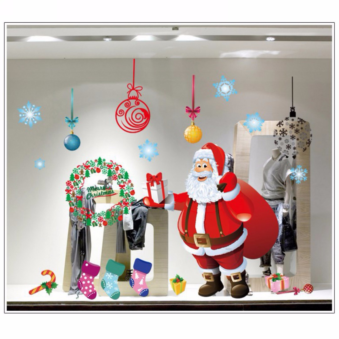 JX LCLYL Large Removable Christmas Wall stickers Window ...