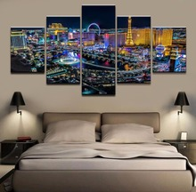 Hot 5 Pieces Las Vegas City Canvas Prints Painting Wall Art Home Decor Panels Modular Free Shipping