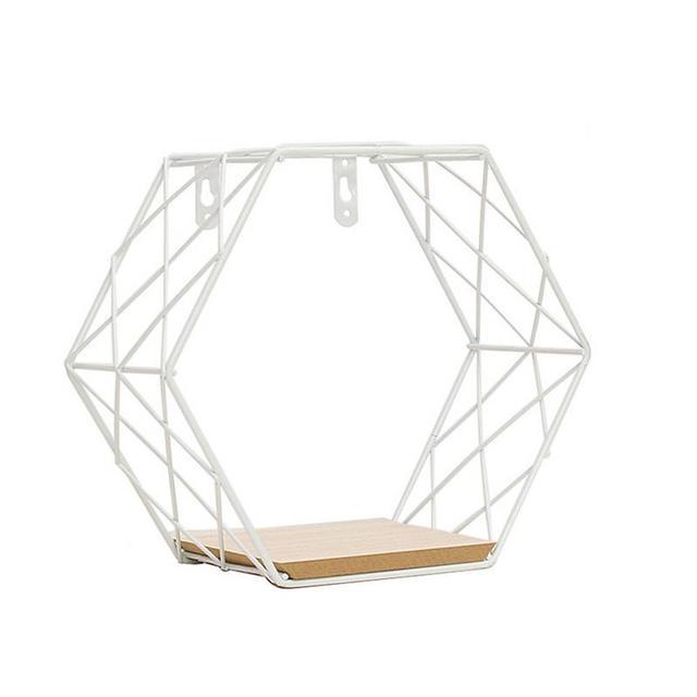 Iron Hexagonal Grid Wall Shelf Combination Wall Hanging Geometric Figure Wall Decoration For Living Room Bedroom 4