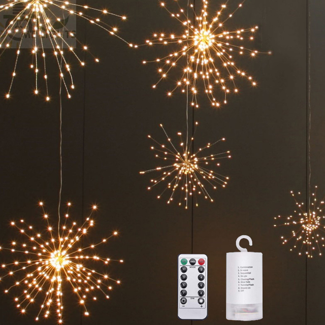 Firework Led Light Copper Wire Branch Design Decorative Night For Bedroom String Party Wedding Decoration