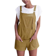 a765bdc717e3 Kenancy Women Overalls And Jumpers Elastic Waist Dungarees Linen Cotton Pockets  Rompers Jumpsuit Denim Shorts Pants