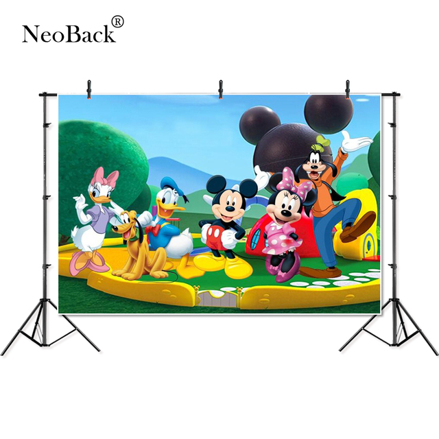 Thin Vinyl blue sky Green Park Minnie Mickey baby kids children Photography Background professional indoor studio Photo Backdrop