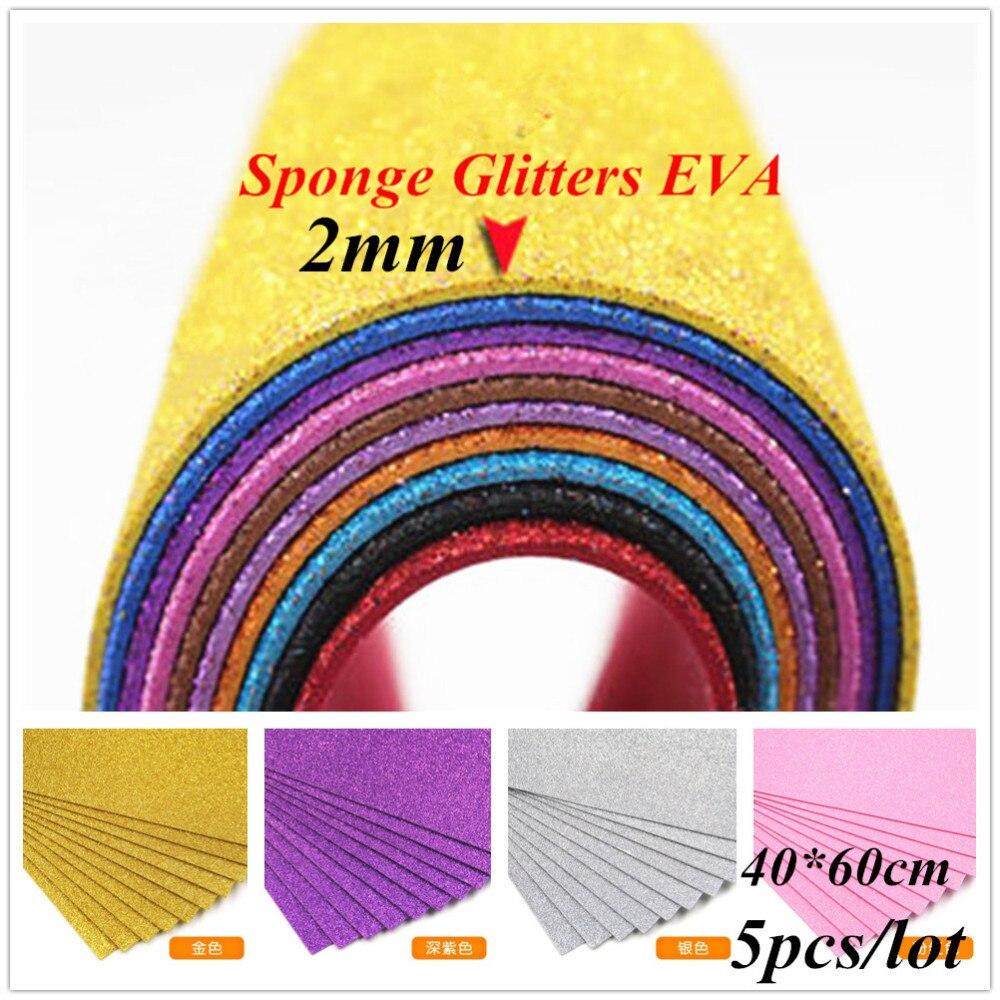 2mm 5pcs EVA Sponge Glitters Foam Sheet Craft Paper Fold Scrapbooking Paper Crafts Decor DIY Card Artwork Accessories 40*60cm craft