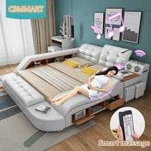 Geunine кожаная кровать мебель из цельного дерева Многофункциональный спальный комплект