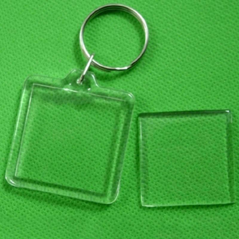 Unisex Transparente Em Branco Inserir Foto 1 pc Keychain DIY Acrílico Picture Frame Redondo Retângulo Coração Das Mulheres Novas Dos Homens Chaveiro