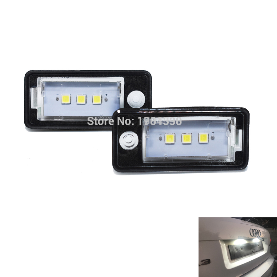 2pcs 3SMD 5050 LED license plate light Canbus NO Error for A3 S3 A4 S4 A6 C6 <font><b>A8</b></font> S8 Q7 RS4 Avant RS6 car rear number plate lamps image