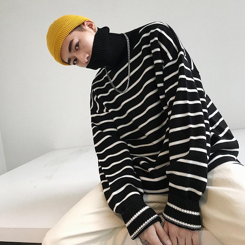 2018 Winter Men's Thicken Stripe Knitting Woolen Pullover Brand Cashmere Sweater Turtleneck Blackgrey Clothes Coats Size M-2XL