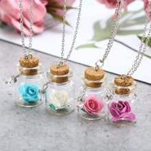 Romantic Dry Flower Women Pendant Chain Luminous  Glowing Flower Necklace Mini Glass Wishing Bottle Necklace Jewelry Gift luminous glass flower pendant necklace