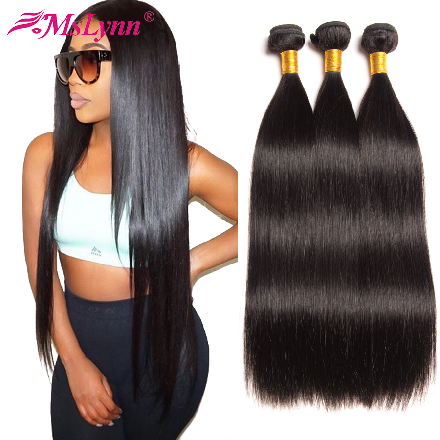 Straight Hair Bundles Brasilianske Hair Weave Bundles Human Hair - Menneskelig hår (for svart)