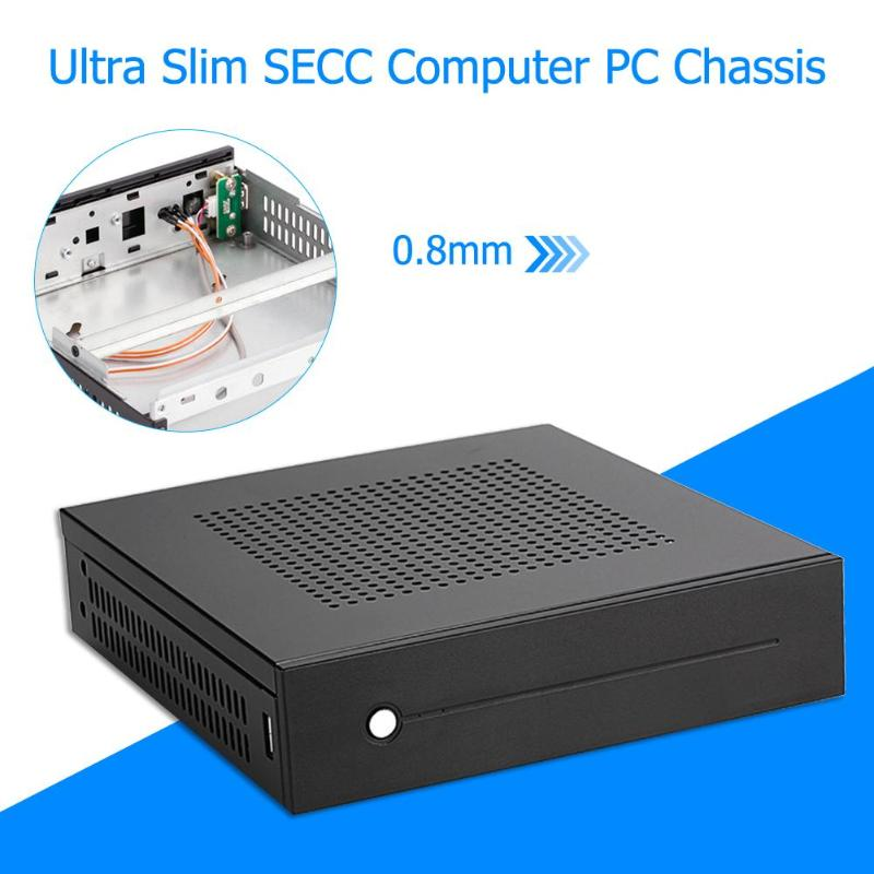 E-T3 Mini-ITX Case Ultra Slim 0.8mm SECC Desktop Computer PC Chassis Support Wall Mount for Mini-ITX motherboard within 17x17cm