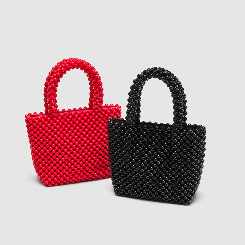Pure Color Imitation Pearl Beaded Bag Fashion Dinner Handbag Design Named Bag Wholesale