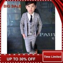 Boy Spring/summer Suit Three-piece Set Boy Plaid suit Jacket British Vest+coat+Pants suit Vestido недорого