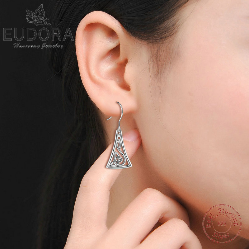 Style moderne Triangle Dangle Boucles d/'Oreilles Argent Sterling 925 Fashion Jewelry Gift