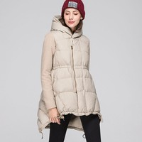 Winter Solid Color Woolen Stitching Hooded Long Down Coat Female 2019 Gray Duck Feather Light And Thin Basic Jackets Women HJ127