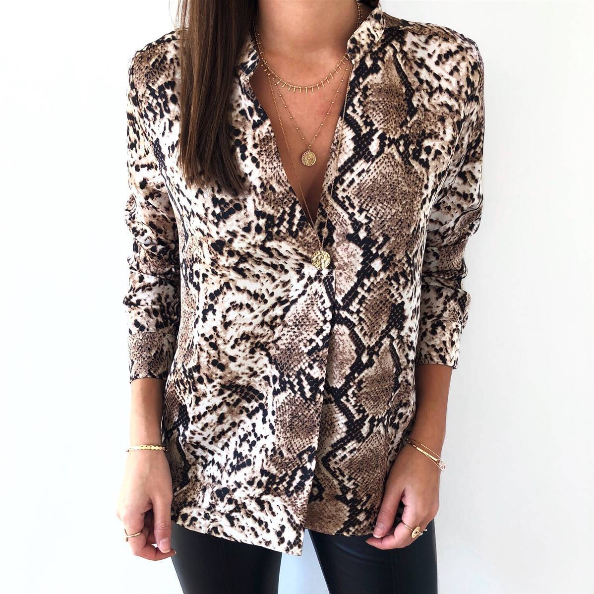 Snake Print Blouse Women 2019 Spring Vintage Slim Shirts Ladies Casual Long Sleeve Stand Collar Single Breasted Tops Plus Size in Blouses amp Shirts from Women 39 s Clothing