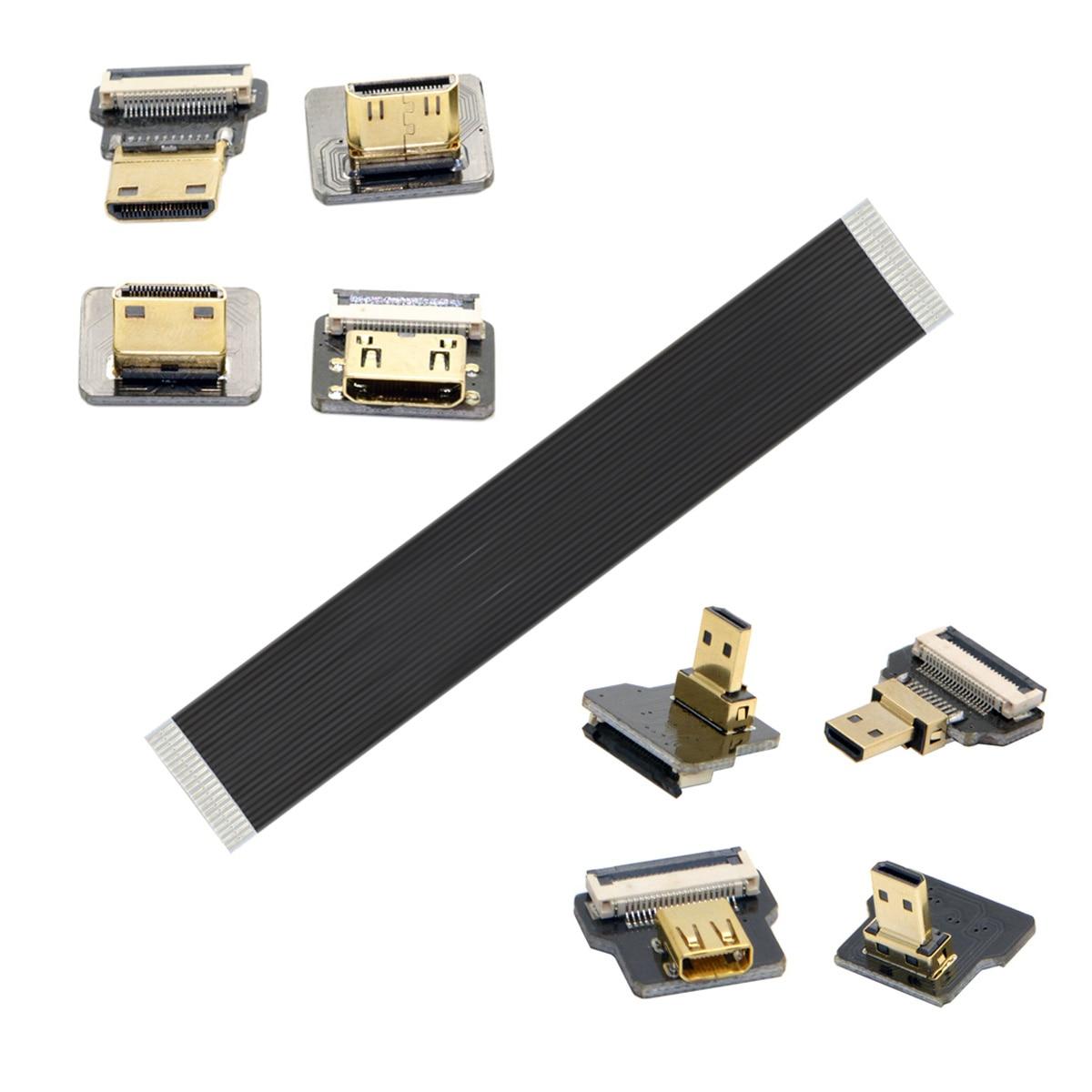 Jimier Angular FPV MicroHDMI Para HDMI Cabo Plano FPC 20 Cm 30 Cm 50 Cm Pe Pes Para Sj4000 Sjcam Sj5000 Gopro Hero 4 \\