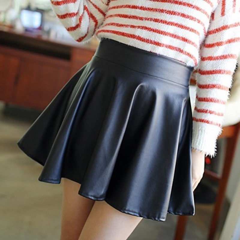 Fashion Women's Mini Skirt Vintage Stretch High Waist Pu Leather Skater Flared Pleated