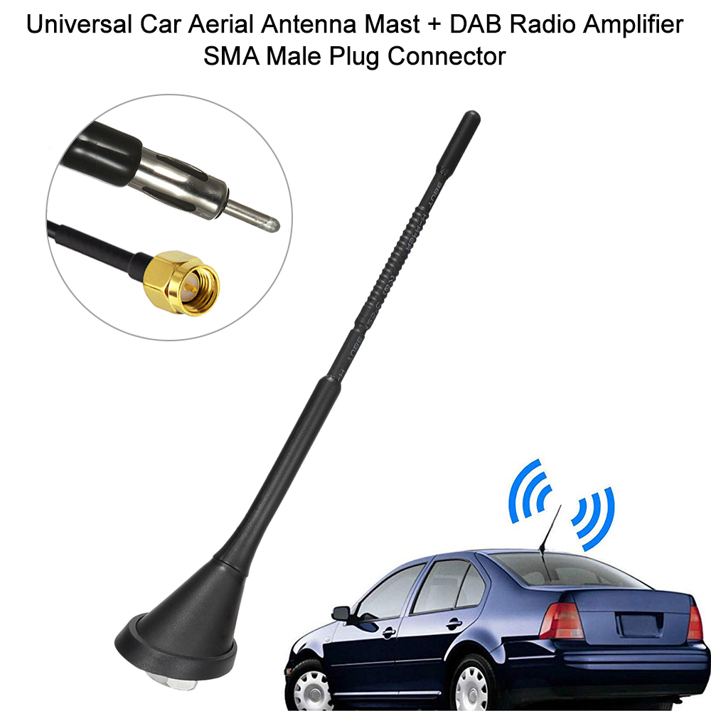 Bingfu Universal Vehicle Truck SUV Car FM AM Radio Antenna Topper,M5.0 M6.0 Screws Black Car Stereo Bullet Antenna Replacement for Ford Chevrolet Dodge Toyota Honda Volkswagen Lexus Nissan Jeep Mazda