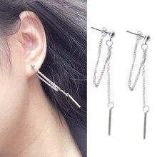 New fashion tassel earrings retro unique long metal silver ear chain ladies boutique accessories