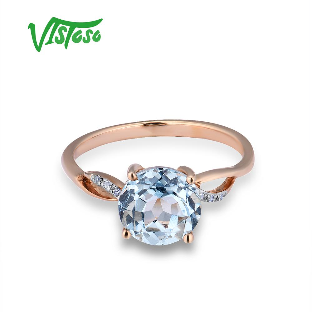 Image 2 - VISTOSO Gold Rings For Women Genuine 14K 585 Rose Gold Ring Sparkling Diamond Sky Blue Topaz Wedding Anniversary Fine Jewelry-in Rings from Jewelry & Accessories
