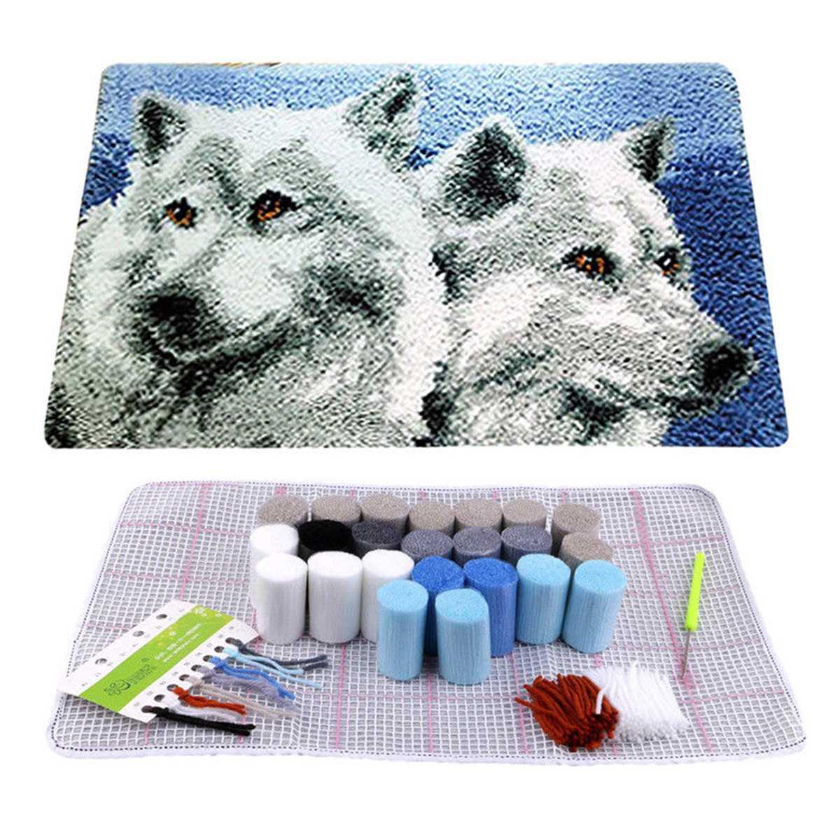 Wolf Brothers, крючок с защелкой, ковер, набор, сделай сам, вышивка крестиком, коврик из ниток, рукоделие, пряжа, подушка, вышивка, домашний декор, 50*30 см