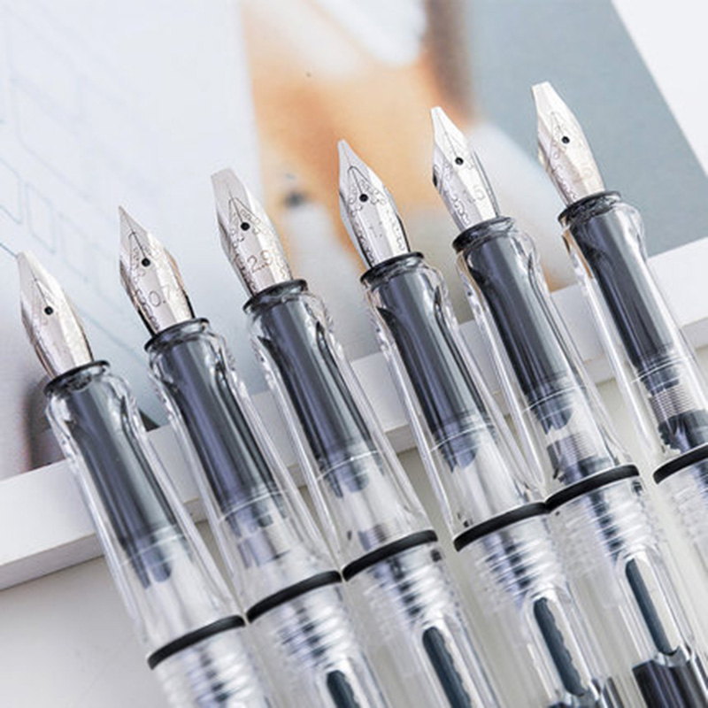 Transparent Fountain Pen 8 Nibs 0.38/0.5/0.7/1.5/1.1/1.9/2.5/2.9mm Nib Replace Ink Parallel Pen Chancery School Calligraphy Pens
