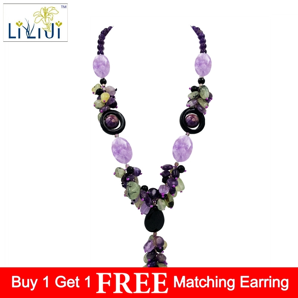 Natural Stone Amethysts Prehnites Black Agates with jades Toggle Clasp Necklace Fashion Women Jewelry