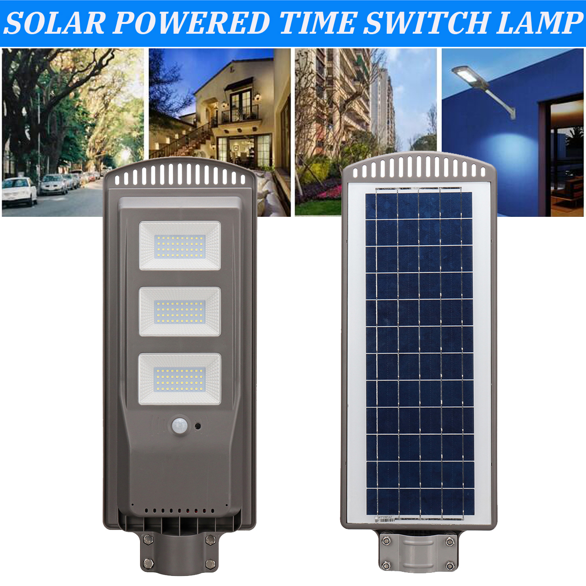 Solar Powered Panel 60W LED Solar Street Light All-in-1 Time Switch Waterproof IP67 Wall Path Lighting Lamp for Outdoor Garden high lumen 60w all in one solar street light south africa for commerical lighting residential lighting