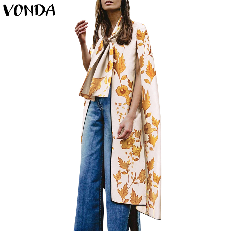 2019 VONDA New Summer   Blouses   Floarl Printed Women Long   Blouse     Shirt   Beach Casual Tops Tee Sexy Bow Cloak Plus Size Blusas S-5XL