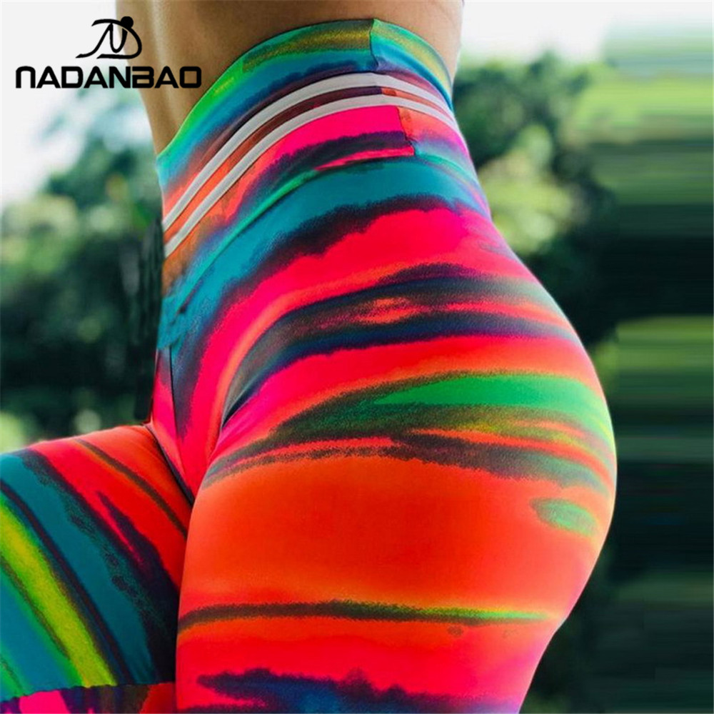 NADANBAO Sexy Push Up Sporting Women Colorful Sunset Glow 3D Print Fitness Legging Workout Legins High Waist Plus Size