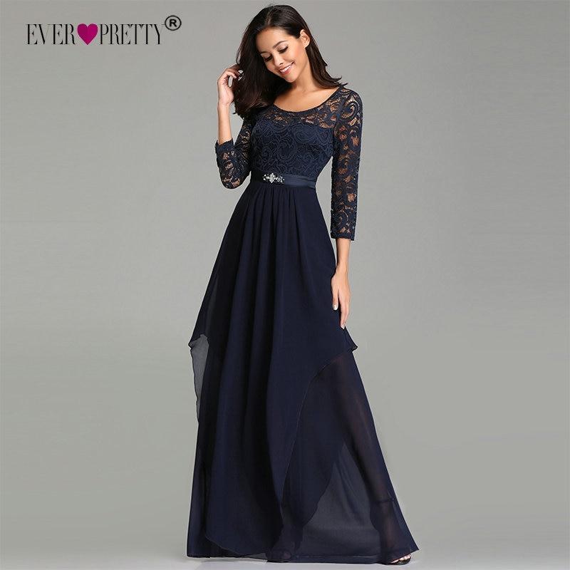 Longues robes De soirée jamais assez élégant une ligne perles ceinture bleu marine hiver dentelle Robe De soirée formelle avec manches Robe De soirée