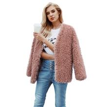 Otoño invierno abrigo peludo abrigo de piel las mujeres suave cálido manga  larga prendas de vestir exteriores chaqueta sin cuell. c5097b40ff32