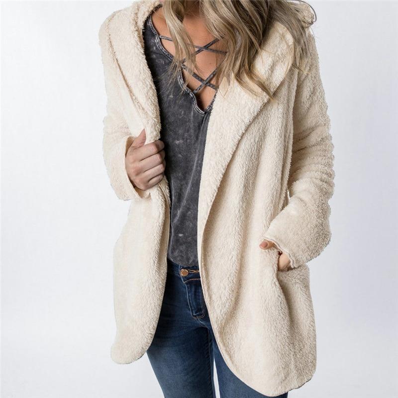 Women Fleece Faux Fur Winter Warm Cardigans jacket Open Stitch Female Solid Loose Long Sleeve Plush Cardigan Outwear Jacket Coat