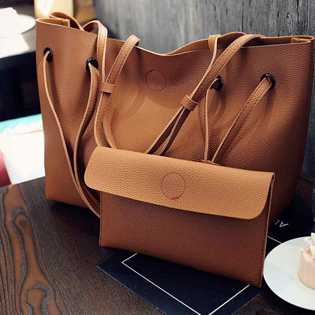 Female Hand Bag 2Pcs Fashion Women Luxury Handbag Large Tote Purse  Crossbody Satchel Pu Leather Shoulder Messenger Bag Brown