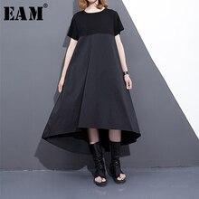 [EAM] 2020 חדש אביב קיץ עגול צוואר קצר שרוול שחור רופף להיט Coor בחזרה ארוך קפלים סטיץ שמלה נשים אופנה גאות F558