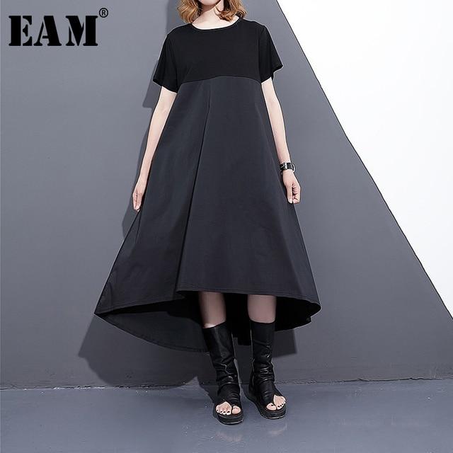 [EAM] 2020 Nuova Primavera Estate Girocollo Manica Corta Nero Hit Allentato Coor Stich Posteriore Lungo A Pieghe del Vestito le donne della Moda Marea F558